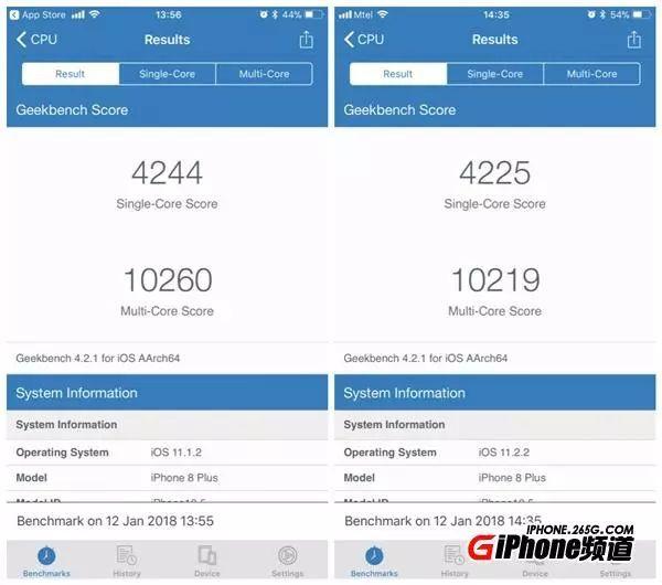 iphone6s/7/8升级ios11.2.2性能对比:6s大幅缩水