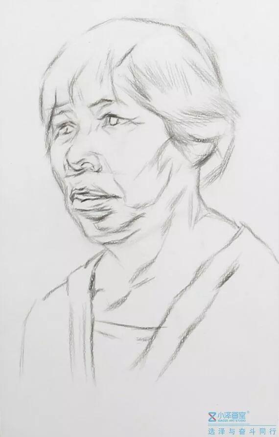 【干货】素描头像系列 | 女老年四分之三面步骤解析