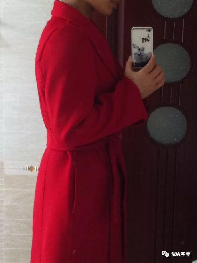 连袖双面羊绒大衣裁剪图纸_手工缝制青果领浴袍款双面羊绒大衣,裁剪图
