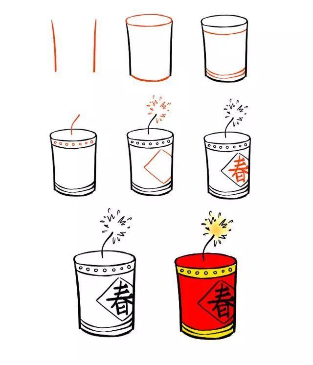 新年简笔画,用灯笼 鞭炮 红包一起迎接春节吧