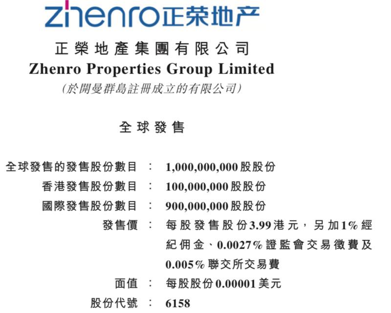 正荣地产正式登陆港交所,市值达160亿港元