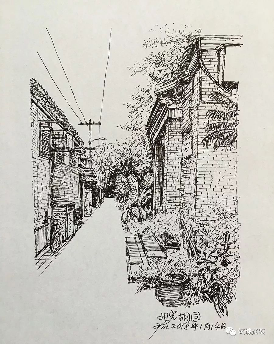 蒋培铭建筑师钢笔画