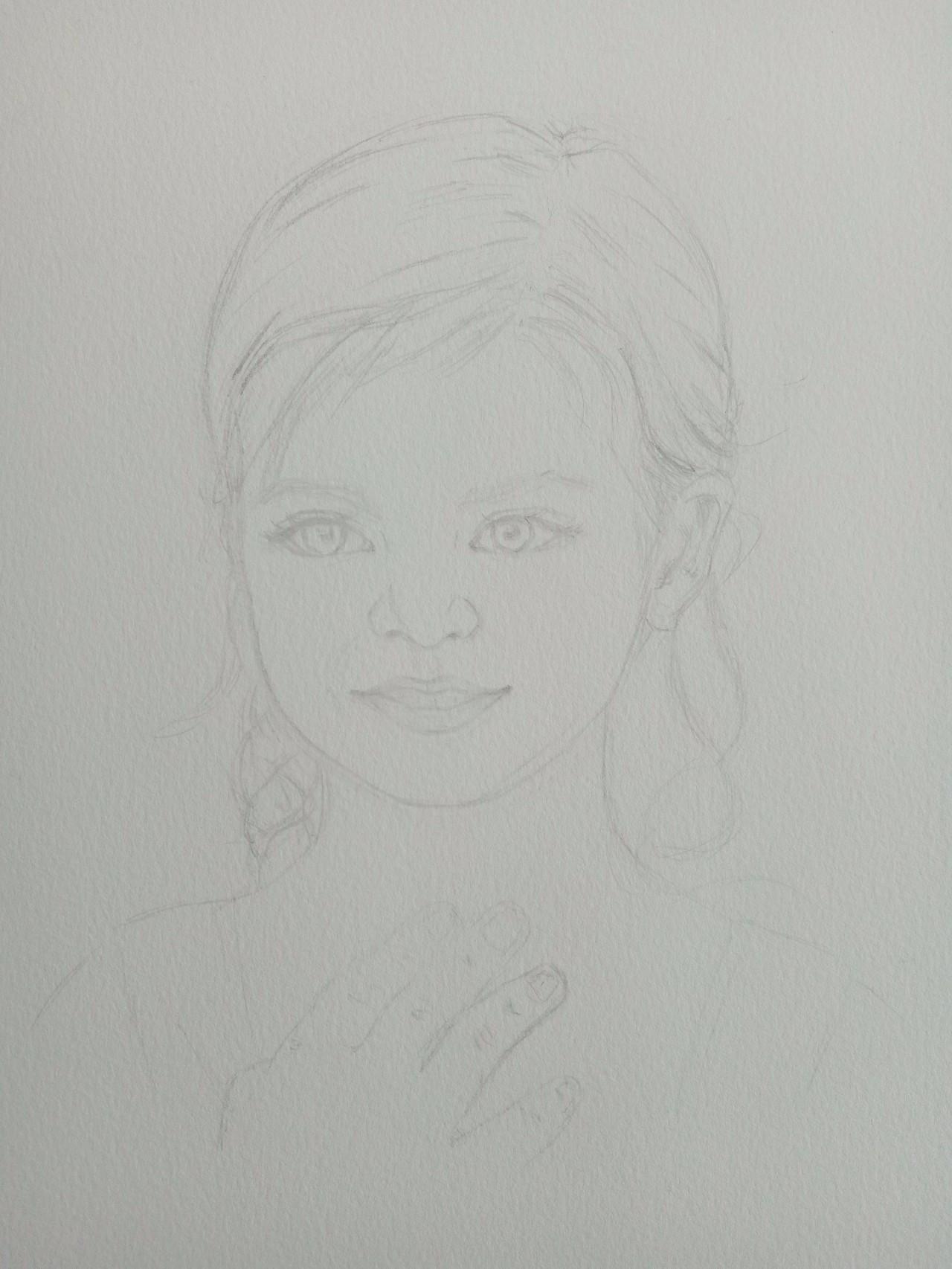 手绘人物笑脸素描