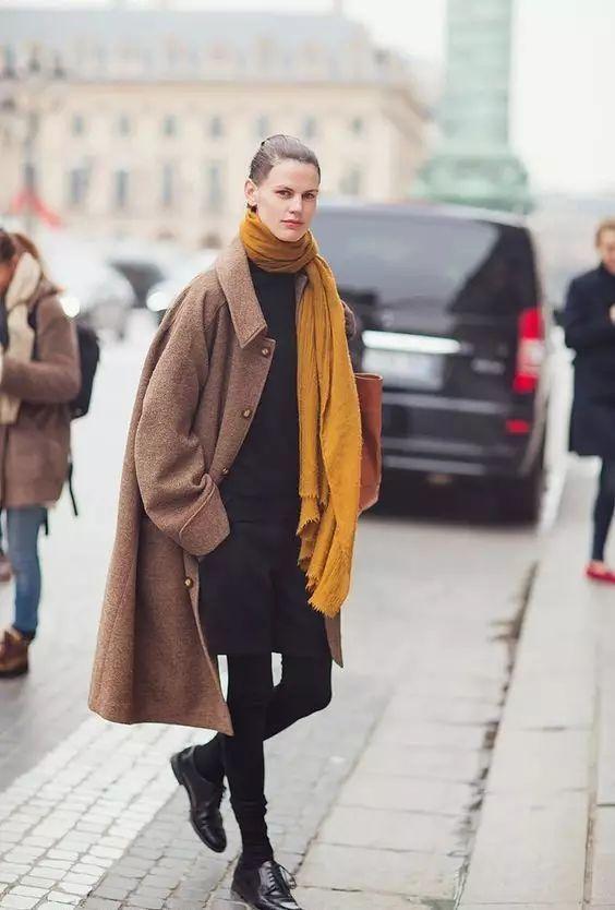 大衣 围巾 最保暖的时髦精