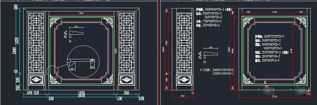 背景墙cad设计图(含拆单图)