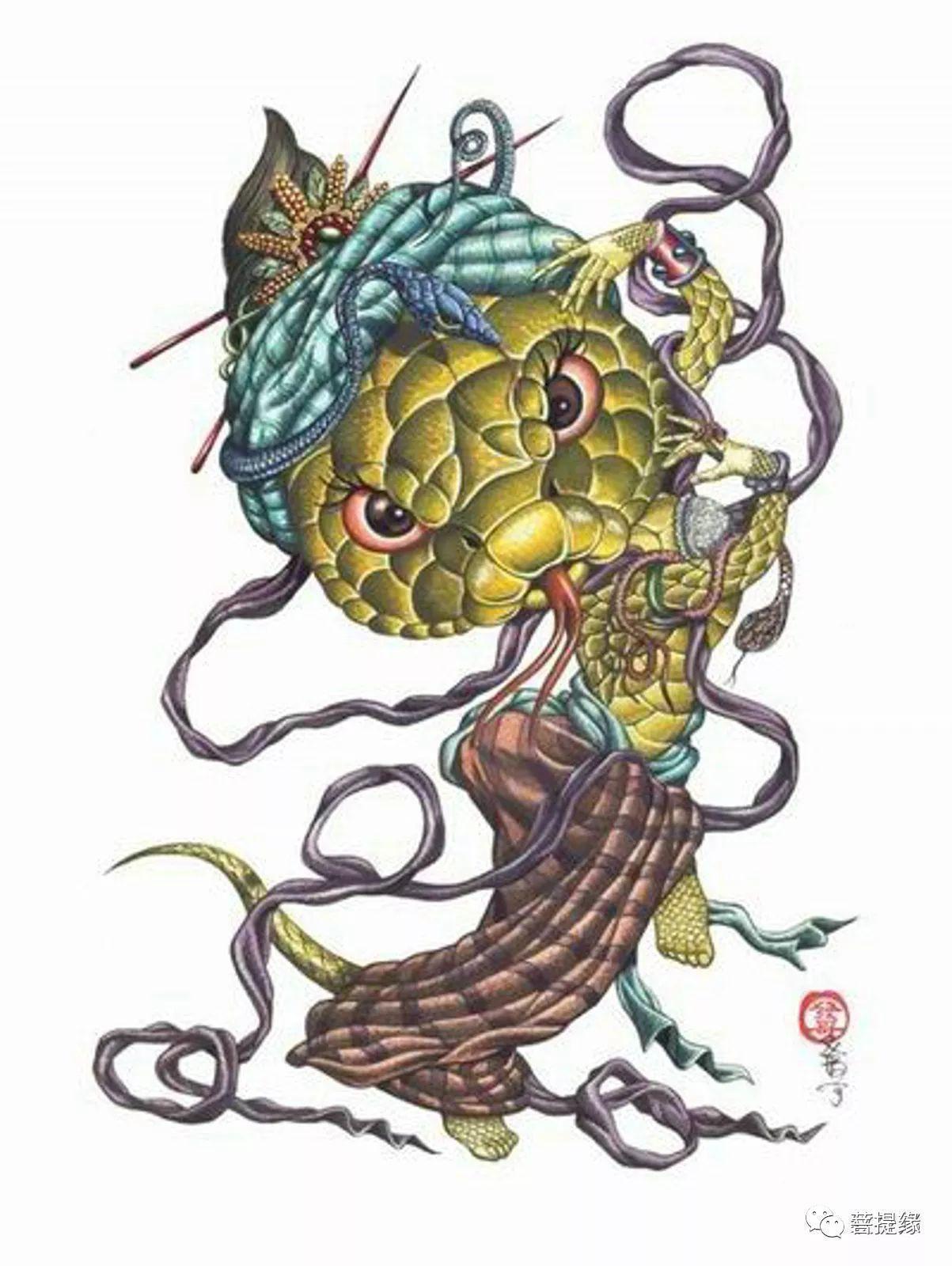 雕刻师十二生肖纹身素描手稿另类版素材