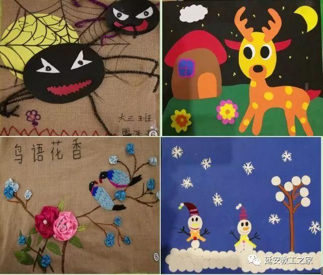共有麻布画,粘贴画,绘画,青花瓷,刮花五大类,各种废旧麻袋,纸盒,吸管
