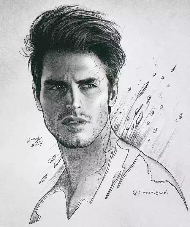 他画的素描铅笔画,很细腻
