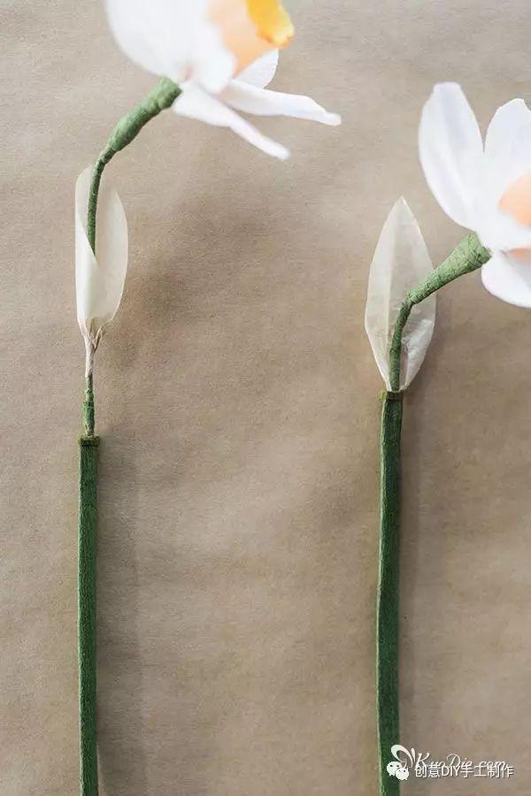 纸艺|diy皱纹纸水仙花纸花教程