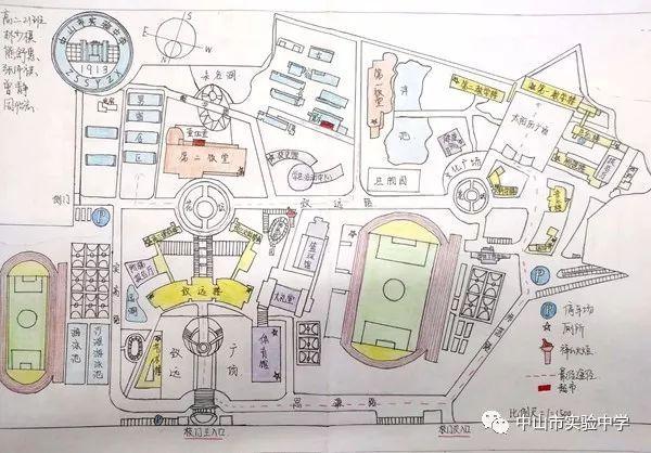 实中学子手绘校园地图q萌可爱创意爆棚!