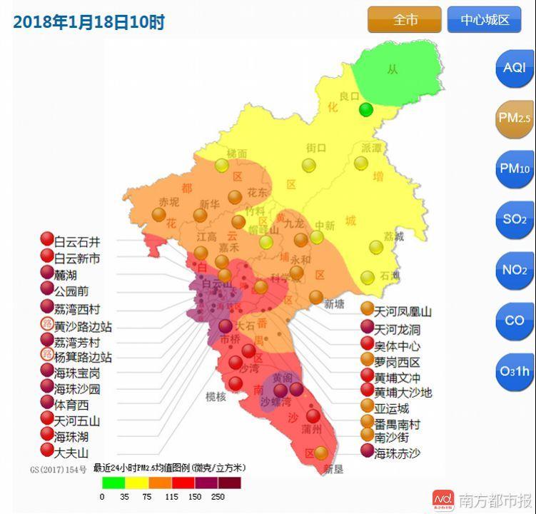 早上起来一片灰蒙蒙!广州今年首次遭遇PM2.5重度污染!