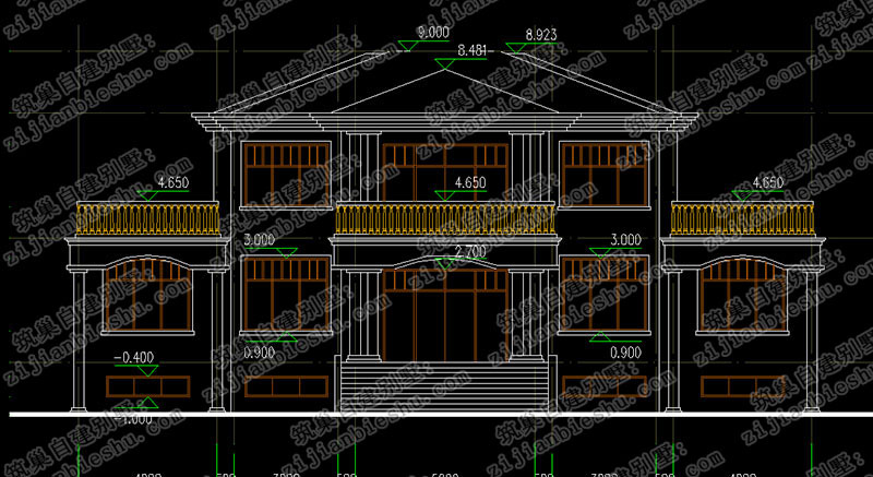 3套二层奢华大气农村自建别墅设计图大全(含全套施工图 效果图)