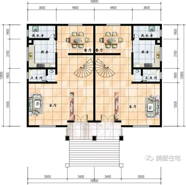 这是一层平面设计图,设有客厅,厨房,餐厅,洗衣房和一个卫生间.