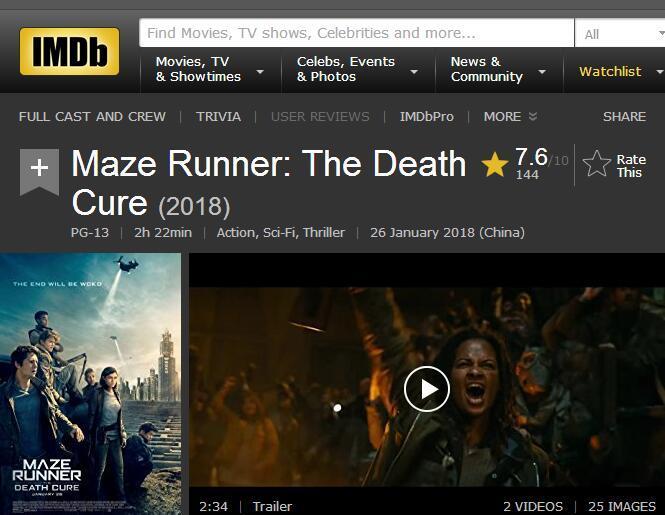 《移动迷宫3》北美口碑正式解禁 IMDb评分7.6