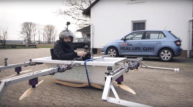 德国小伙自制飞行浴缸 配备六副旋翼可载人垂直起降图片