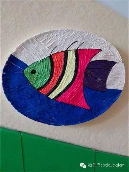 幼儿园常用皱纹纸~线绳粘贴画手工,美美哒!