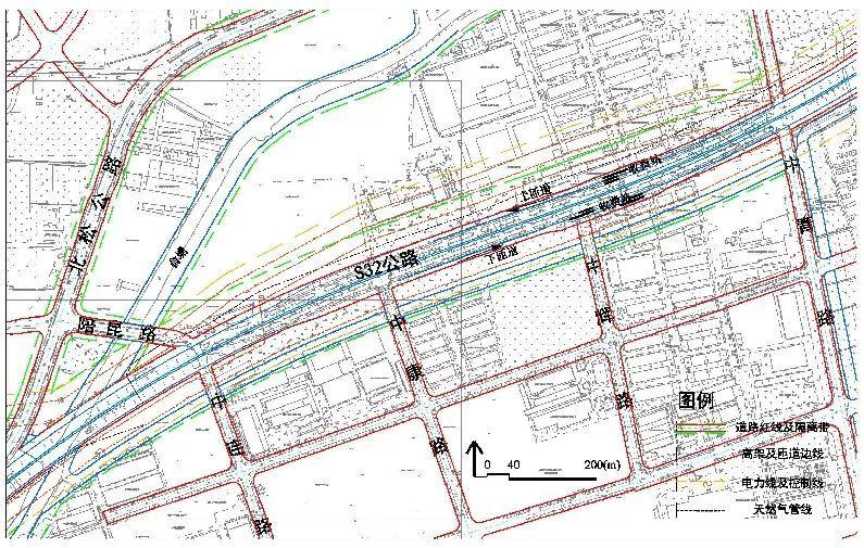 2公里;s32南侧靠近高架一路220kv高压架空线调整至高架北侧,向东850米图片