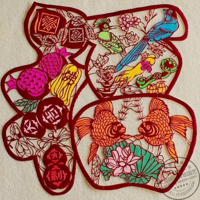 鸡年春节装饰年货中国特色礼品手工剪纸作品窗花玻璃贴紫金桃寿福图片