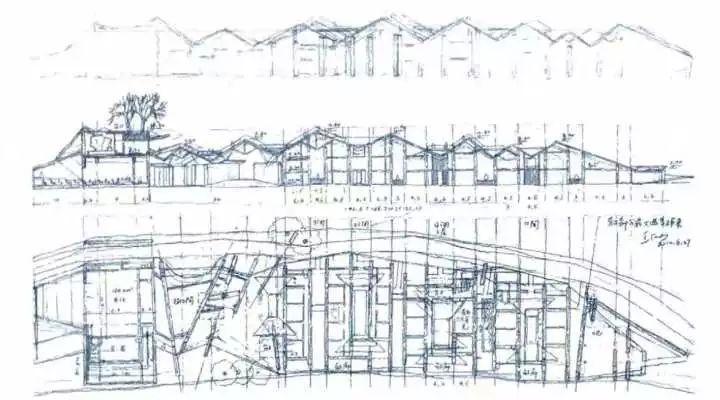 这是王澍水岸山居的设计草图.
