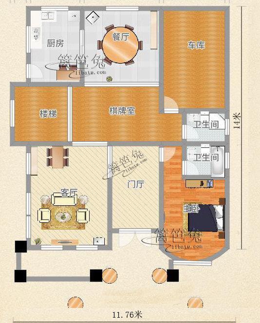 11米14米 占地150平米欧式三层别墅,农村自建50万可以