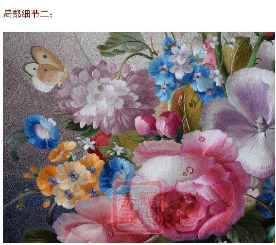 83*99顾氏苏绣静物花瓶,1-4丝工艺i刺绣葡萄玫瑰静物