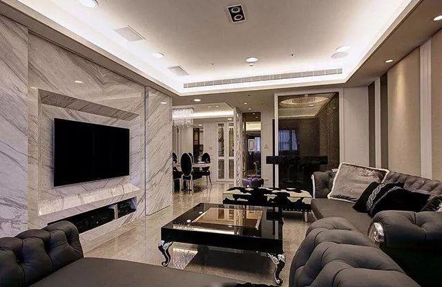 一般来说,石材电视墙是在比较时尚的现代风格里面比较常用的设计元素