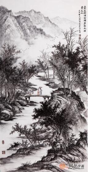 山间老骚逼_吴大恺四尺竖幅山水画作品《山间老树静含烟》作品来源:【易从网】
