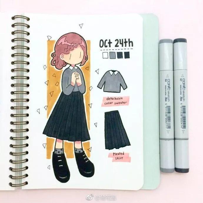 手帐素材丨简笔画女孩的日常穿搭