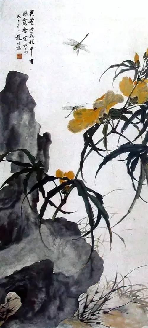 Пейзаж в жанре хуаняо. Чжао Ши. «Стрекозы на цветках бамии»