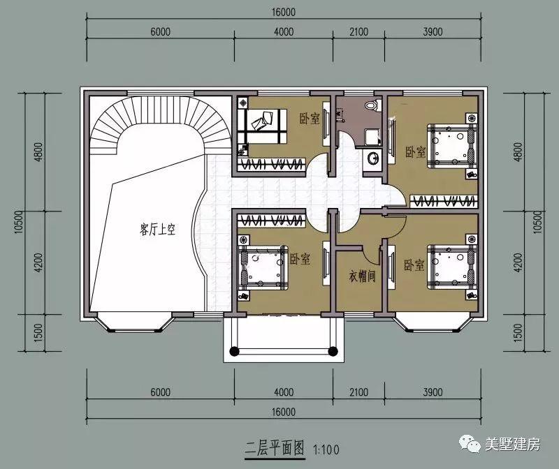 二层平面图:4卧室,卫生间,衣帽间,阳台