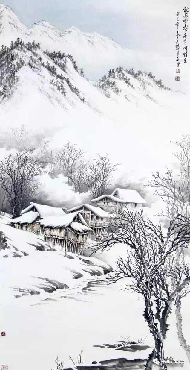 欣赏四川画家吴大恺的这些雪景山水,会把我们一下勾回到童年时代,家图片