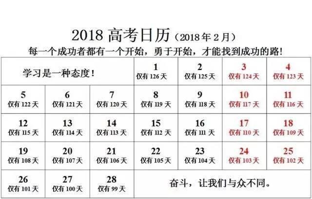 【收藏】2018高考倒计时日历,用它每天激励自己!