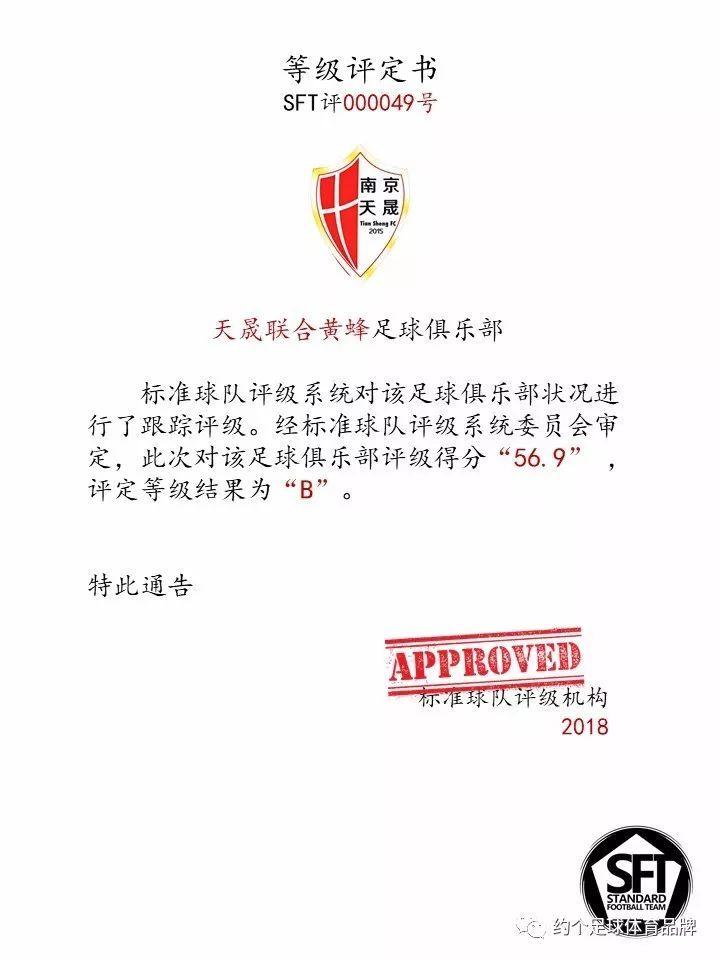 天晟联合黄蜂足球俱乐部等级评定报告