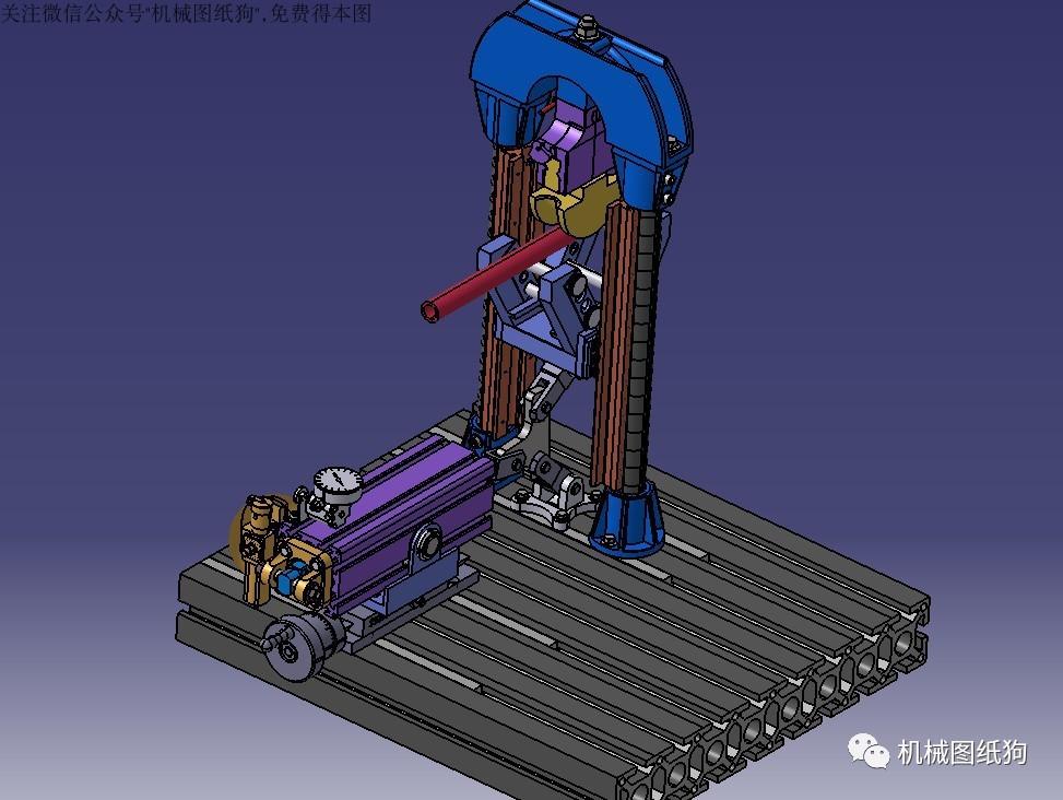 【工程机械】半自动弯管机床3d模型图纸 stp格式
