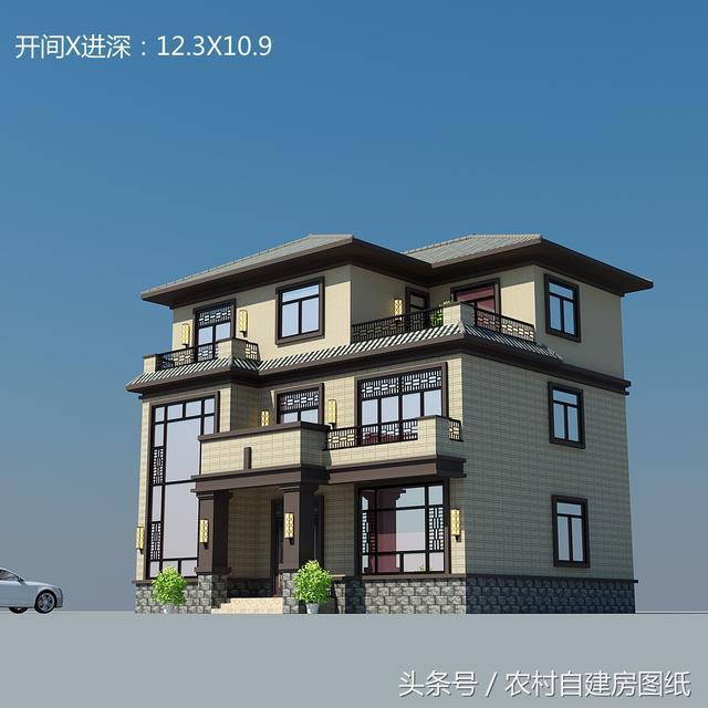 2018年新款二层农村别墅,120平新中式风格,这个布局堪称完美