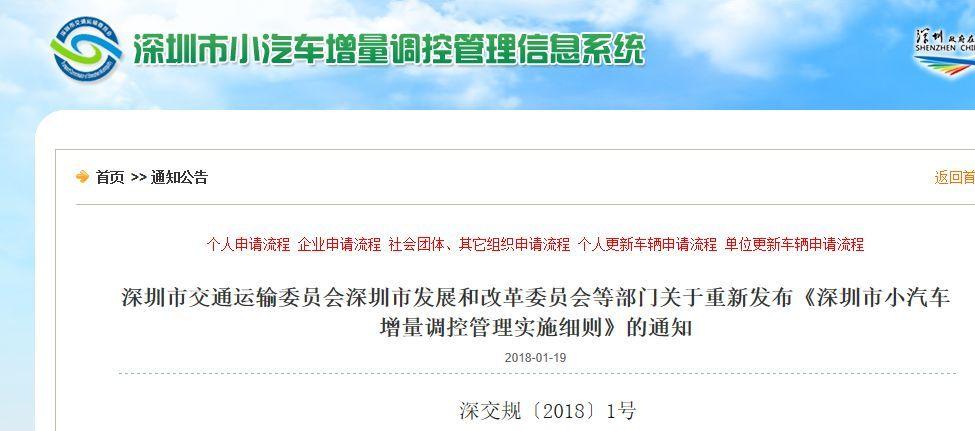 深圳中小汽车增量指标