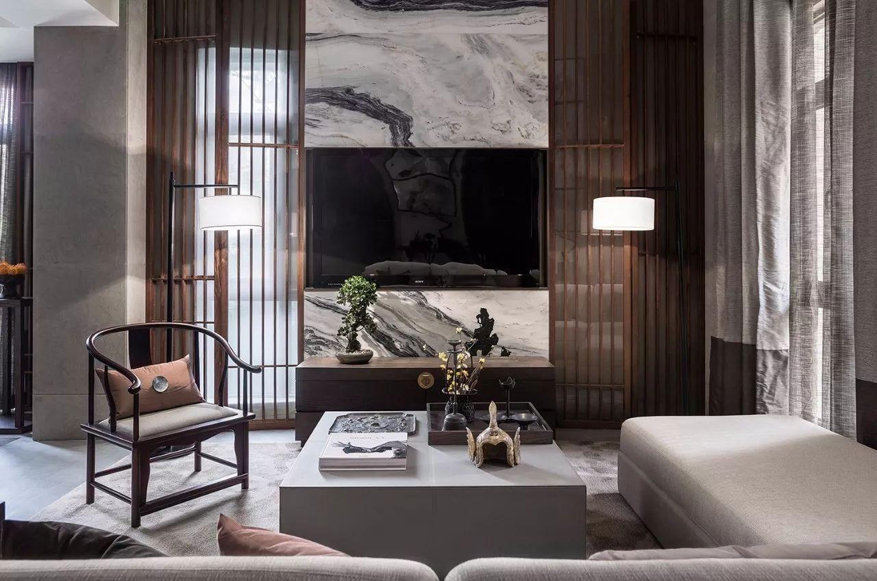 专业控|新中式客厅设计,典雅轻奢图片