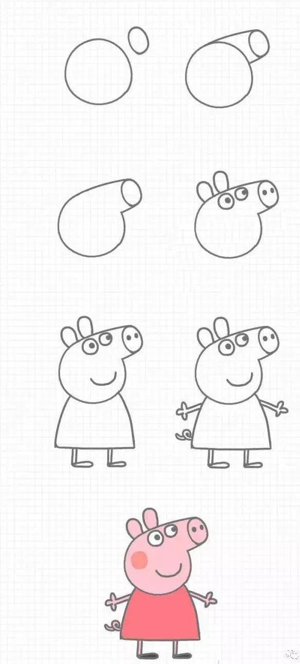 小猪佩奇简笔画,分分钟学会,带着孩子学起来吧!图片