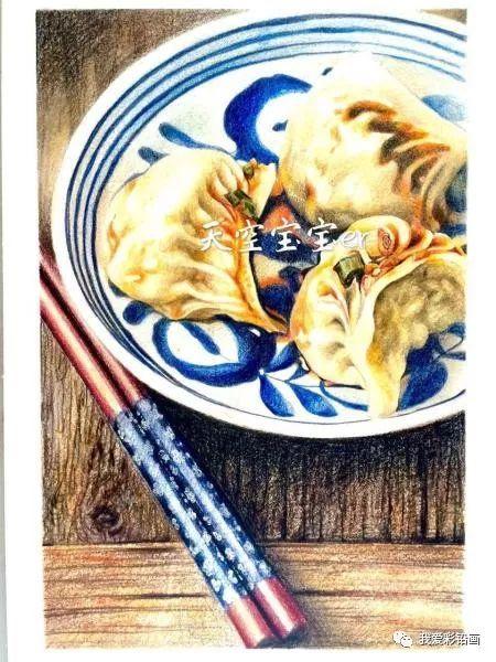 彩铅手绘--红油蒸饺