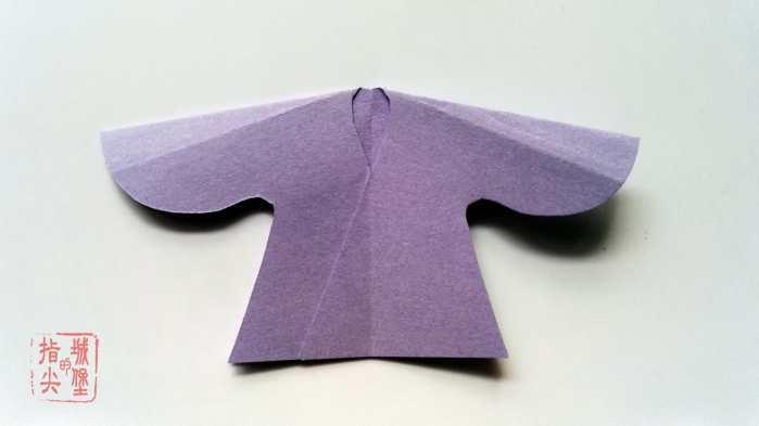 中国风汉服折纸书签, 手工折纸图解教程详解