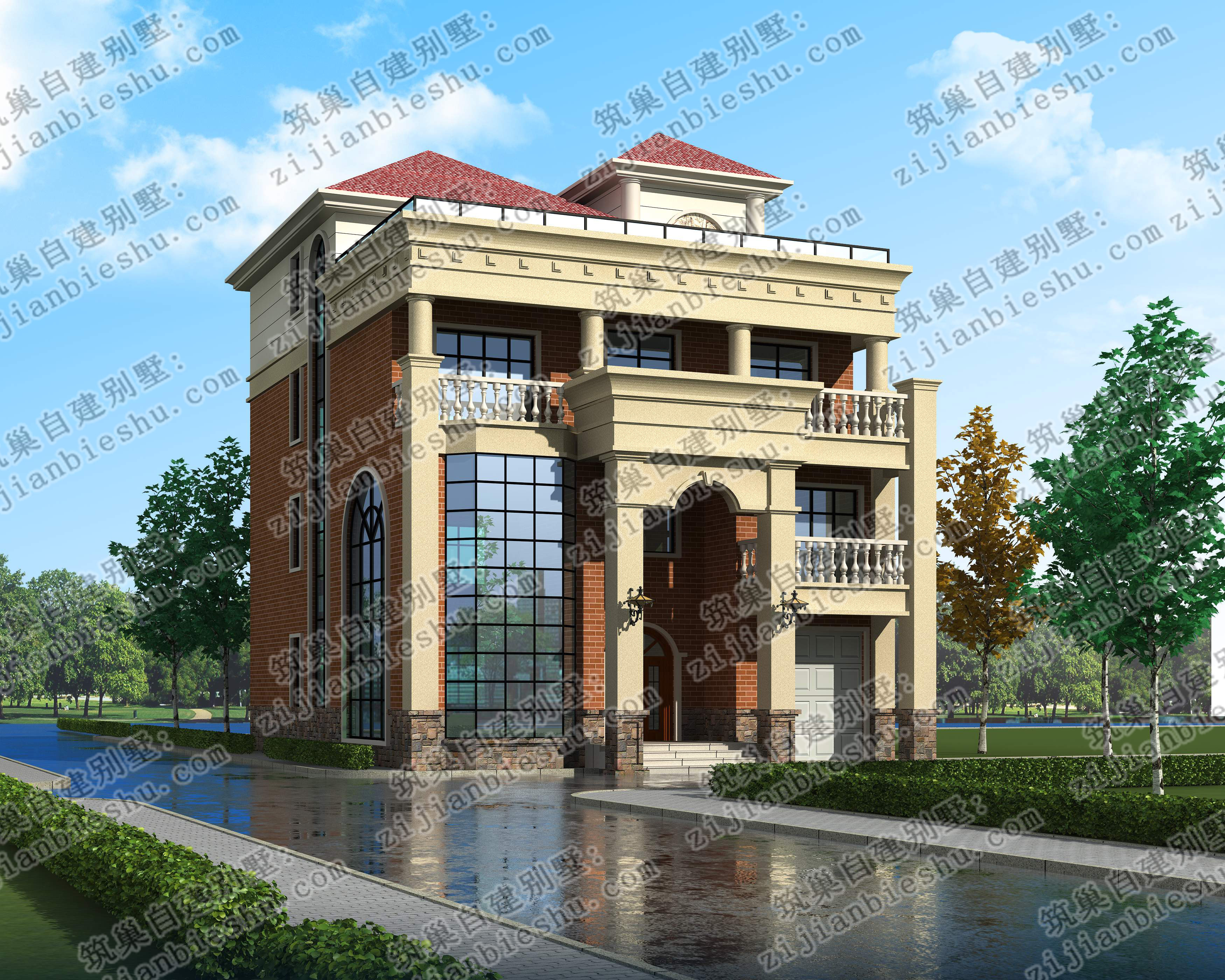 新农村四层12×16别墅设计图,造价预算50万(效果图 施工图)