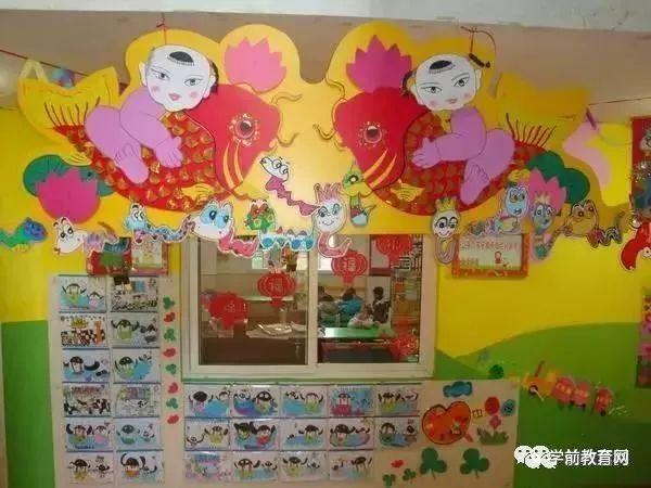 环境布置:幼儿园新年走廊,手工吊饰环创布置!