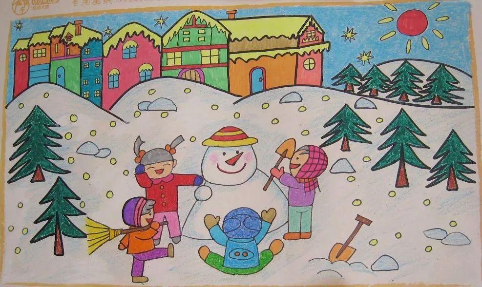 ###儿童画蜡笔画5:冬天堆雪人图片