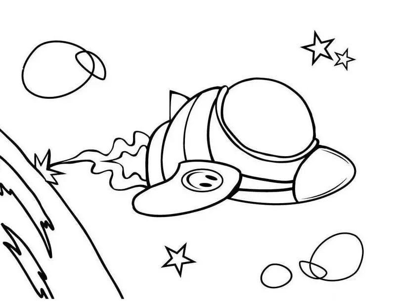卡通宇宙飞船简笔画 交通工具简笔画 板报吧