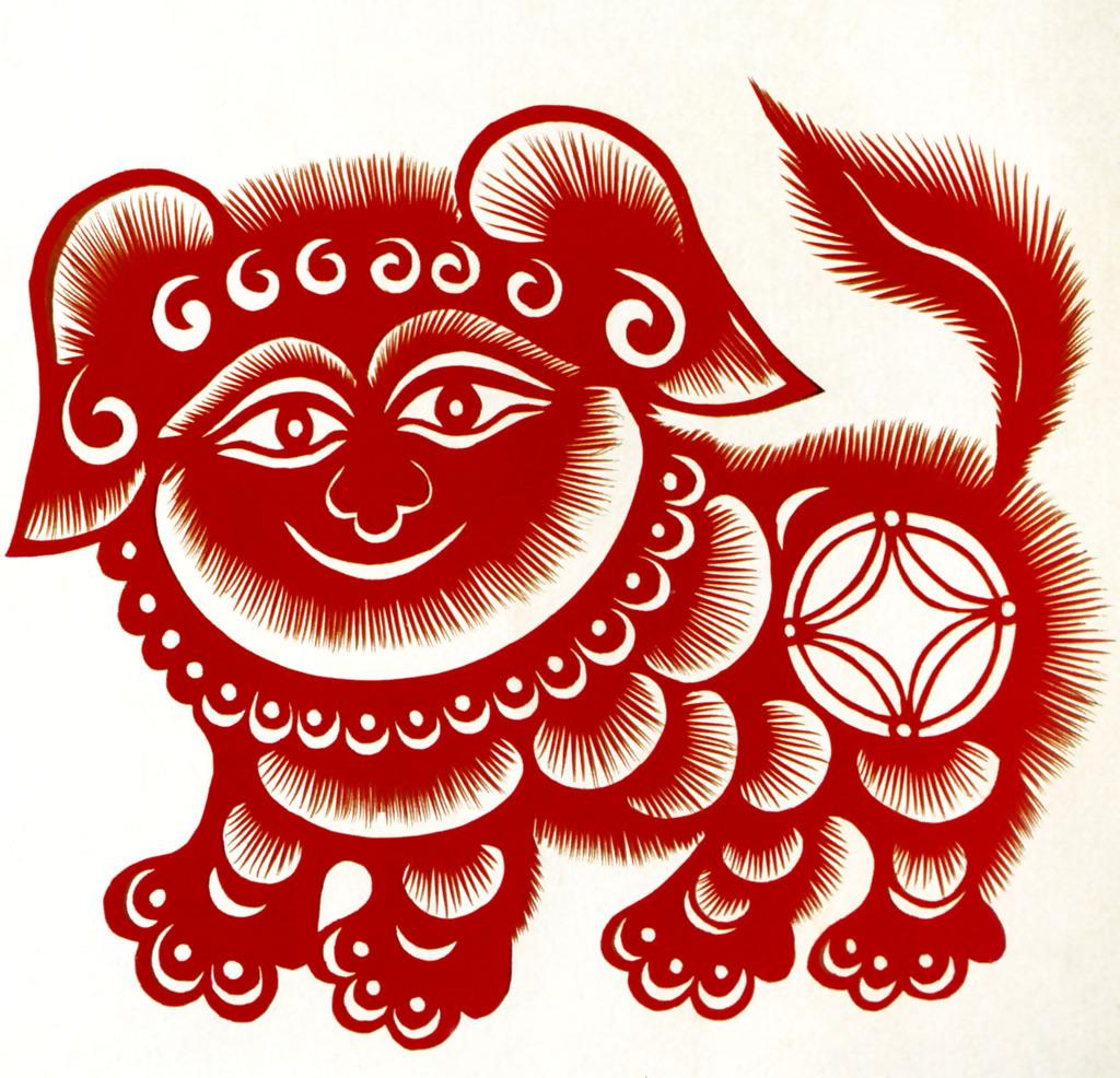 尤彩霞的剪纸作品--狮子狗图片