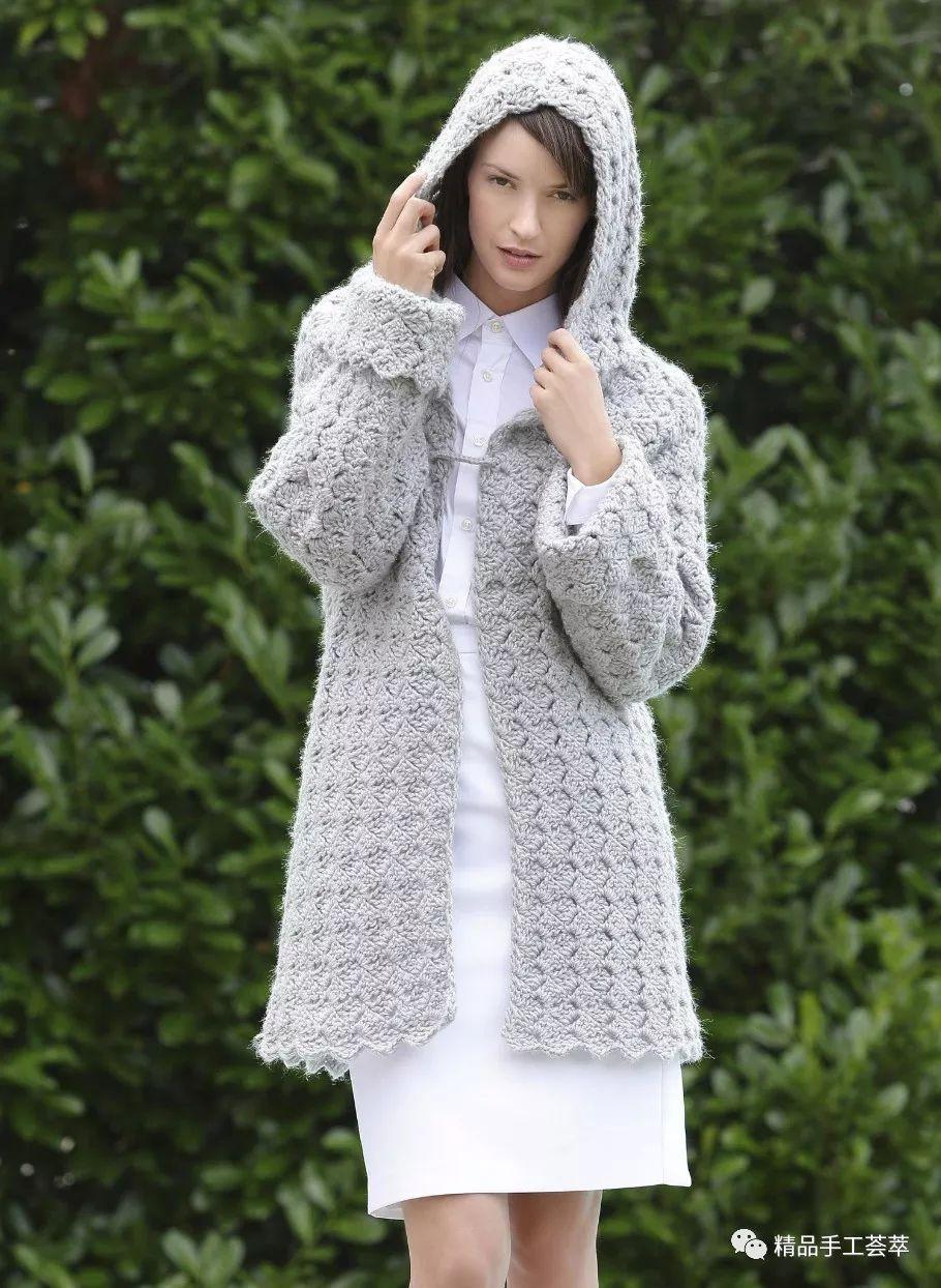 一款钩针编织的时尚帽衫外套花样图解