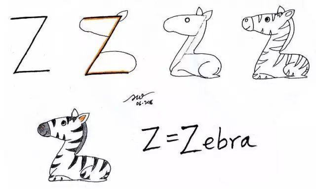 26个字母创意画简笔画,26个字母可爱创意图片