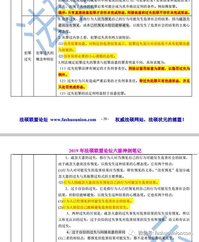 2019年法硕联盟论坛六脉神剑法律硕士笔记免