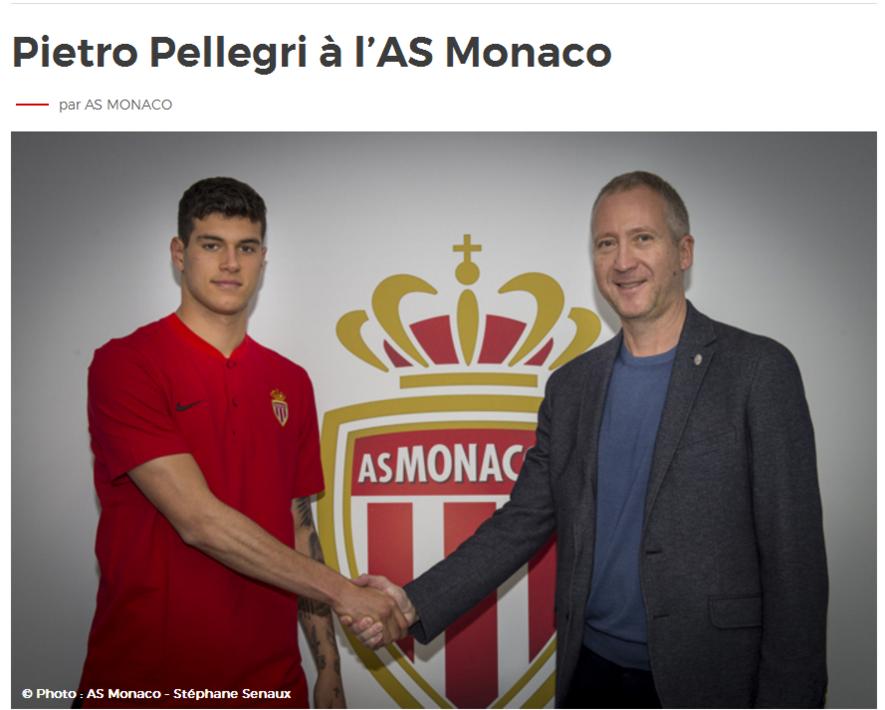官方:摩纳哥签下热那亚16岁新星佩莱格里
