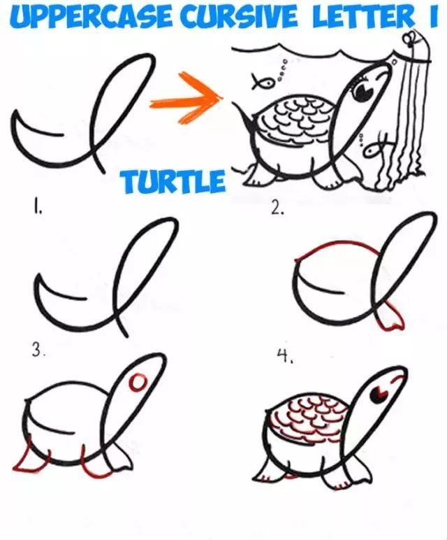 趣味学 26个英文字母创意简笔画,假期陪孩子一起玩吧图片